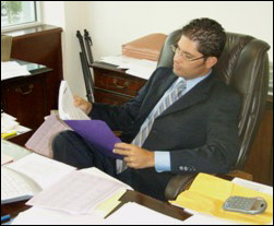 David Neblett hard at work in his office