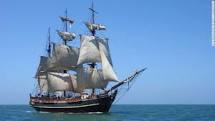 The replica pirate ship, the HMS Bounty